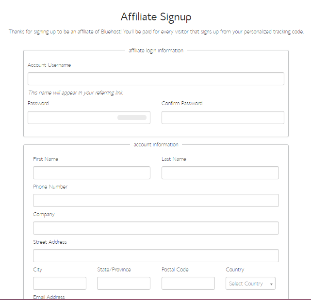 Bluehost Affiliate SignUp form