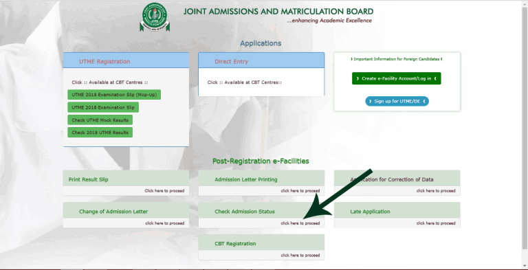 Jamb caps - how to check admission status