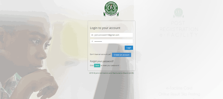 jamb-efacility-login-type your email and password