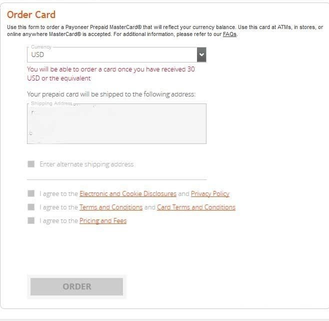 Request For Payoneer MasterCard