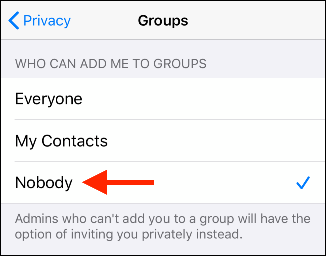 Select-the-Nobody-option-from-Groups-on-iPhone