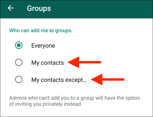 Switch-to-Contacts-option