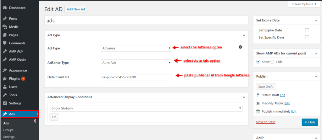 How to set up auto ads with ADSforWP