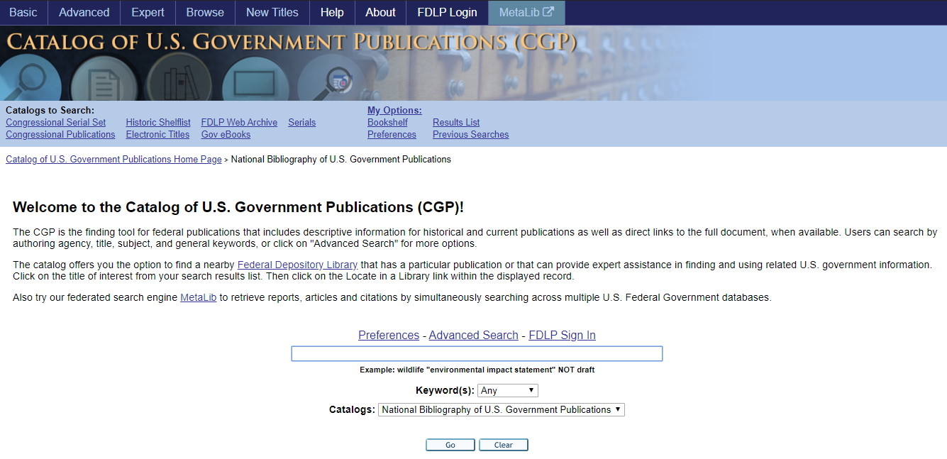 THE CATALOG OF U.S. GOVERNMENT PUBLICATIONS