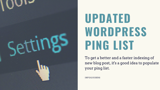 Updated Ping list For Faster Indexing