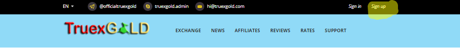Sign up on Truexgold