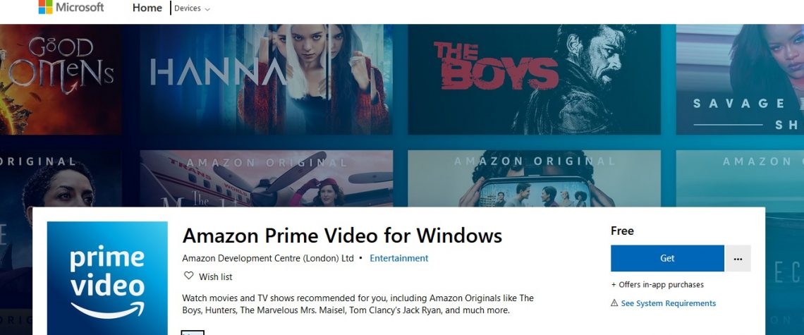 Download and install Amazon prime video app